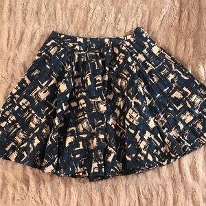 Anthropologie Black + Blue Patterned A Line Skirt